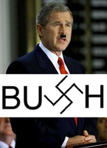 The image implies that George W. Bush is like Hitler, but doesn't actually provide any reasons.